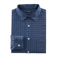 Men's Croft & Barrow® Fitted Solid Easy Care Spread-Collar Dress Shirt, Blue