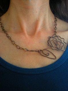 handmade beach copper wire necklace, organic bohemian hippy jewelry, recycled jewelry,free worldwide shipping