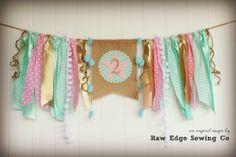 TWINKLE LITTLE STAR Pink Gold Aqua Birthday by RawEdgeSewingCo