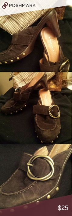 A. Marinelli Brown Suede  Mule Shoes A Marinelli 2 inch brown suede mules shoes with Brass Buckle and Studs.  New and never worn. size 8 Women. A. Marinelli  Shoes Mules & Clogs