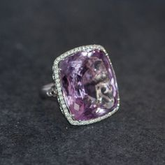 Gold Ring with Large Natural Amethyst and Diamonds .         •$2,858.00