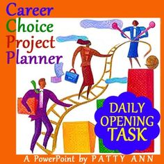 """This POPULAR Career Choice Project Planner: Daily Opening Task is a must have for your class period starter. Keep students occupied right off by giving them a daily task related to an overall project. Help them jump start their organizational, research, and formatting skills. This PowerPoint has great tips, practical ideas, and how to's. The topic for this PowerPoint is set up for 'Career Choices' however be assured the """"Opening Task"""" format is applicable to any subject matter."""