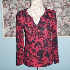 Ann Taylor Loft Hot Pink Black Floral Ruffle V Neck Cotton Top Size Small #AnnTaylorLOFT #Blouse #Casual