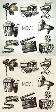 Movie and Cinema Hand Drawn Set - Objects Vectors