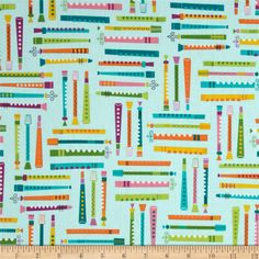 Jazz Between Friends Instruments Sweet from @fabricdotcom  Designed by Suzy Ultman for Robert Kaufman, this fabric is perfect for quilting, apparel and home décor accents.  Colors include orange, teal, purple, pink, yellow and lime on an aqua background.