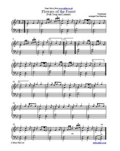 Flowers of the Forest - an old Scottish Folk Song and Lament which is frequently played at funeral services (including military funerals and memorial services) on bagpipes. This arrangement is for piano or keyboard.
