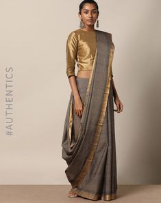 Buy Indie Picks Women Grey Handloom Mangalgiri Saree with Nizam Border | AJIO