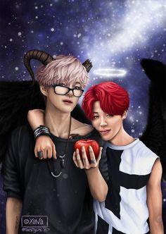 BTS Fanart || Kim Taehyung (V) & Park Jimin (Vmin) | halloween!au