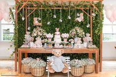 Baby Shower Girl Decorations Bear New Ideas Baby Shower Photo Booth, Baby Shower Photos, Baby Shower Desserts, Baby Shower Cupcakes, Diy Baby Shower Decorations, Table Decorations, Baby Shower Vintage, Bear Party, Gender Neutral Baby Shower