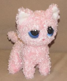 "7"" Bestever Luv'ems Pink Plush Kitty Cat Big Blue Eyes Stuffed Animal Beanbag #Bestever"