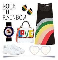 """retro rainbows"" by dizzielizzie42 ❤ liked on Polyvore featuring RED Valentino, adidas, Les Petits Joueurs, women's clothing, women's fashion, women, female, woman, misses and juniors"