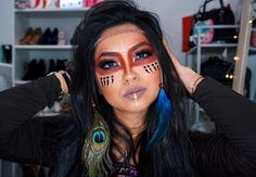 Native American Makeup, Native American Wedding, Native American Girls, Indian Halloween Custome, Halloween Make Up, Halloween Face Makeup, Cowboy And Indian Costume, Indian Costumes, Costume Makeup