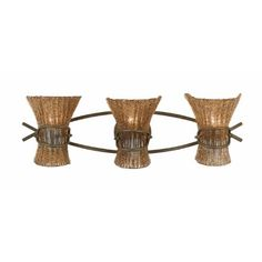 Triarch 23101 3 Light Bali Bathroom Bar Light, Patina by Triarch. $196.20. From the Manufacturer                Finish: Patina, Glass: Coffee-Tinted, Light Bulb: (3)60w B10 Cand C Incand Bali 3-Light Vanity Fixture. Like the work of artisans in this island haven, our piece is crafted with an eye to detail; a jutelike frame grasps hand-made beaded shades in the hues of nature.                                    Product Description                Finish:Patina, Gl...