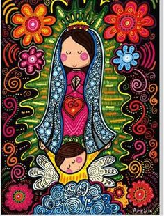 Our Lady of Guadalupe in folk art style. Our Lady of Guadalupe in folk art style. Catholic Art, Religious Art, Mama Mary, Holy Mary, Madonna And Child, Blessed Virgin Mary, Mexican Folk Art, Blessed Mother, Mother Mary