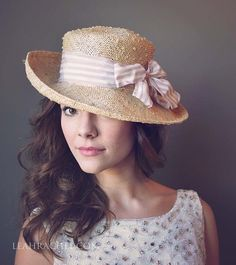 a482d4f0e73 A romantic straw hat with a Lavender striped ribbon awaits your picnic  outing. This is beautiful perisisal straw structure.