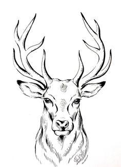 ORIGINAL Zeichnung Hirsch Minimalistische Bild Tusche Deer Ink Drawing Stag Line Monochrome Artwork