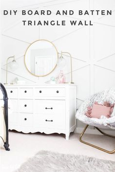 DIY Board and Batten Triangle Wall - House by Hoff Triangle Wall, Pretty Room, Board And Batten, Little Girl Rooms, Office Interior Design, Home Decor Inspiration, Design Inspiration, Decor Ideas, Cool Rooms