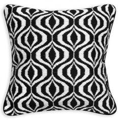 Modern Throw Pillows | Black and White Bridget Bargello Decorative Throw Pillow | Jonathan Adler