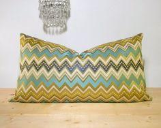 Blue & Gold Chevron Jacquard Lumbar Pillow Cover by kittybrook, $36.00