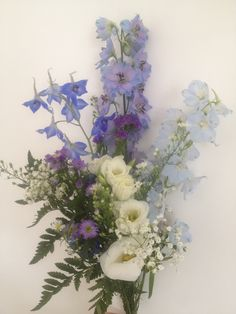 #Bridal #bouquet practice #wedding #wild #flower #handpicked  Delphiniums, statis, September, Lizyanthus, gypsophila