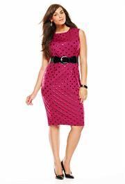 Plus Size Belted Dot Sheath Dress image