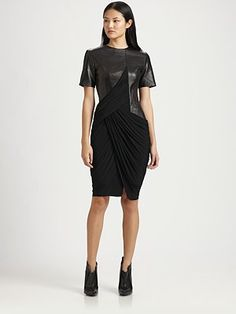 Alexander Wang Draped Leather-Trim Dress