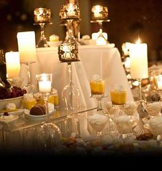 Candle lit wedding dessert display at The Grandview in New York