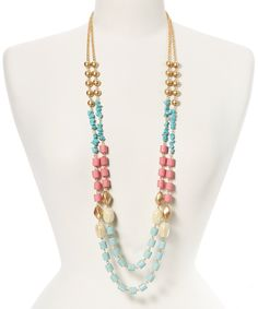 Another great find on #zulily! Turquoise & Rose Beaded Multi-Strand Necklace by Stella + Ruby #zulilyfinds