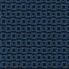 Cobalt Blue and Black square patterned Brocade Ponte Cotton/Poly/Elastane Jersey