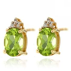 14k Yellow Gold Green Peridot Gemstone and Diamond Stud Earrings Birthstone of August
