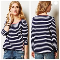"""{Anthropologie} Stripezip Tee {Anthropologie} Stripezip Tee by Lili's Closet. 'On our weekend wish list, this striped scoop neck from Lil's Closet, complete with cheeky zipper details.' Pullover styling. Navy and white stripe with coral color detailing. 65 cotton 35 polyester. Approx 24"""" long, approx 18"""" pit to pit. Size XS. Excellent condition. Anthropologie Tops"""