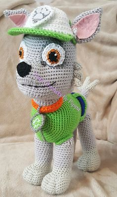 Crochet Amigurumi Rabbit Patterns This is a crochet pattern inspired by Rocky from Paw Patrol. - This is a crochet pattern inspired by Rocky from Paw Patrol. Diy Crochet Amigurumi, Chat Crochet, Crochet Mignon, Crochet Hook Set, Amigurumi Doll, Amigurumi Patterns, Crochet Crafts, Crochet Dolls, Crochet Projects