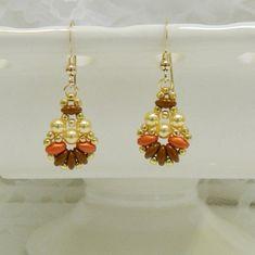 Swarovski SuperDuo Beaded earrings,Beaded jewelry,SuperDuo earrings,Leverback,Clip on - Fall Fun Fanfare Earrings