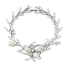 Chic Pearl Bridal Bracelet In Silver