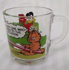 Garfield Coffee Mug Vtg McDonalds Glass I'm Not One Who Rises to the Occasion #AnchorHocking
