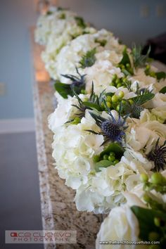 Fabulously Winter Chic Florals in White, Thistle Blue and Green with Small Green Hypericum Berries - The French Bouquet - Zinke Design - Ace Cuervo Photography