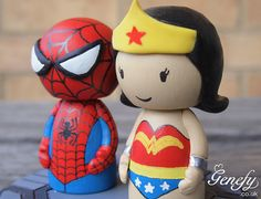 Cute Spiderman Super Hero Wedding Cake Topper by GenefyPlayground
