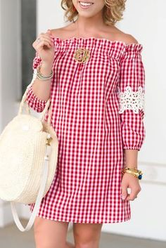 Affordable Red Gingham + Lace Sleeve Dress for House wife Off the shoulder Summer Mini Casual Daily Red Dress Outfit.Mommy and Me July Outfit Inspiration Red Dress Outfit, Casual Dress Outfits, Mode Outfits, Fashion Outfits, 80s Fashion, French Fashion, Boho Fashion, Spring Fashion, Fashion Tips