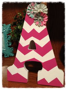 chevron wooden letter with flowers
