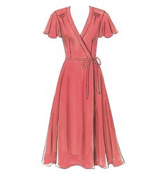 B5030    Misses' Dress, Belt and Sash  WRAP DRESS WITH FLUTTER SLEEVES