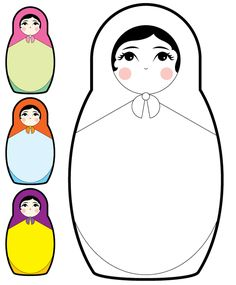Baboesjka by ~LeinDesign on deviantART Matryoshka Doll, Kokeshi Dolls, Russian Doll Tattoo, Doll Drawing, Stencil, Diy Couture, Thinking Day, Doll Quilt, Felt Crafts