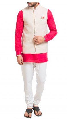 Pink short kurta with a matching churidar and beige linen Nehru jacket. Summer wedding attire for men. Shop now! Nehru Jacket For Men, Nehru Jackets, Summer Wedding Attire, Wedding Wear, Mens Ethnic Wear, Wedding Store, Pink Shorts, Shop Now, Menswear