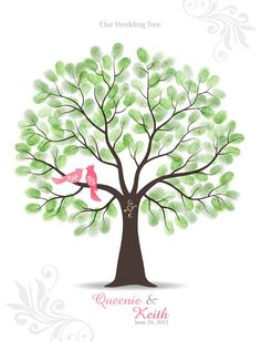Thumbprint Wedding Tree Guest Book Poster... Everyone stamps their thumb and signs over it. It's like a family tree portrait. :)