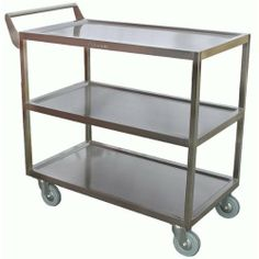 """Allstrong stainless steel heavy duty bus cart 16-3/8""""x 29-1/2""""x 32-1/2""""H.C-4111 NSF by Allstrong. $160.35. 5"""" swivel quiet easy rolling casters  Special punched hole design to hang standard size refuse box and silverware bina All stainless steel 300 lbs capacity"""