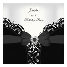Birthday Party Bow Black White Lace Diamond Birthday Party  Invitation Birthday