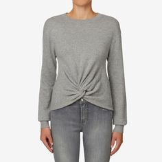 Knot Front Crop Sweater  MID GREY MARLE  hi-res