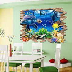 Zooarts Ocean Animals Dolphin Starfish Cracked Wall Removable Vinyl Mural  Art Wall Sticker Decal U003eu003e