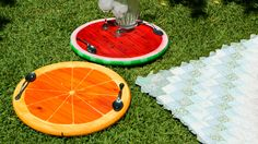 Turn basic wooden rounds into fun fruit-inspired serving trays for an outdoor party.