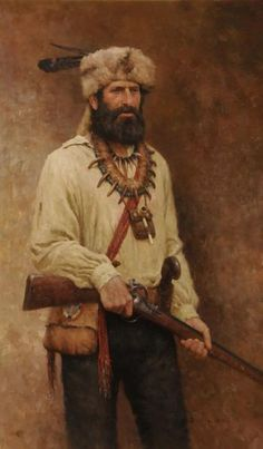 Mountain Man 1840 by Z.S.Liang...The American Fur Trade Era ended around 1840. This mountain man is reminiscing on his past memories.  He used the bear claws and teeth from the grizzly he killed to make the necklace that now bares testament to his bravery and experience as a hunter. His war bag is a gift from an Indian which has a bead work of the North Star. His flintlock, muzzleloading gun was typical for the mountain men in the Fur Trade Era.
