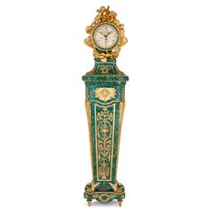 OnlineGalleries.com - Louis XVI style malachite and gilt bronze longcase clock